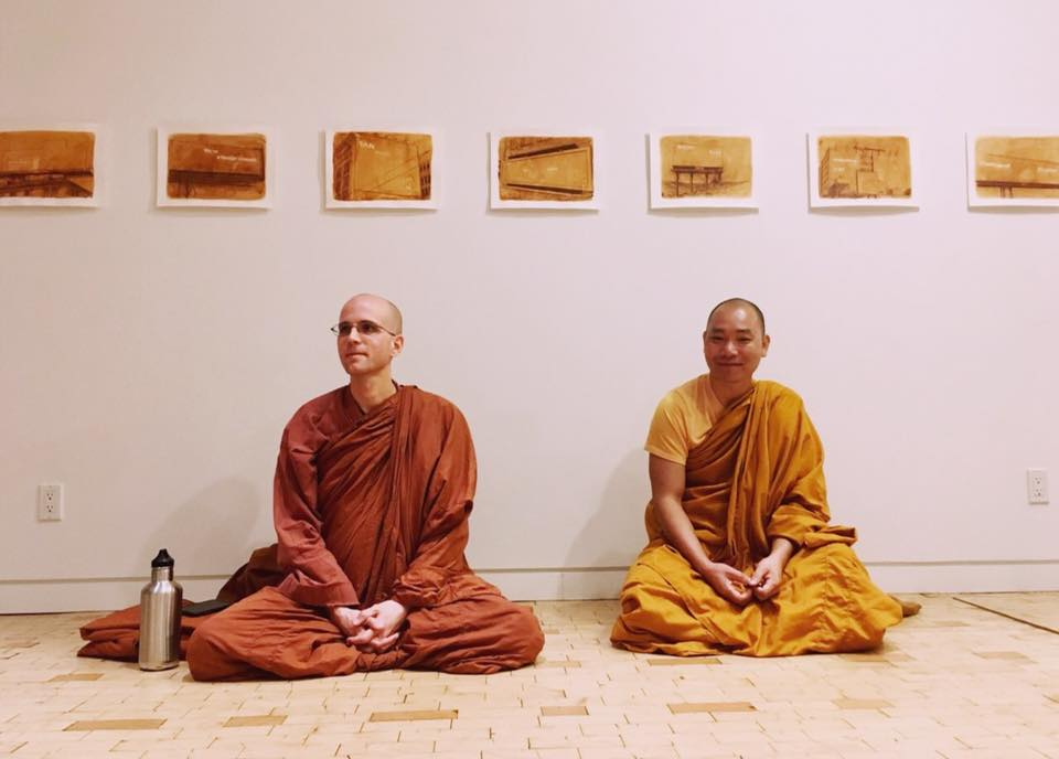 Bhante Suddhaso & Bhante Revata in an Art Gallery in Brooklyn